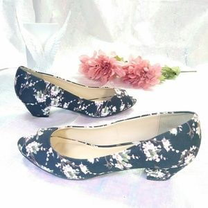 CL by Laundry floral fabric peep toe pump